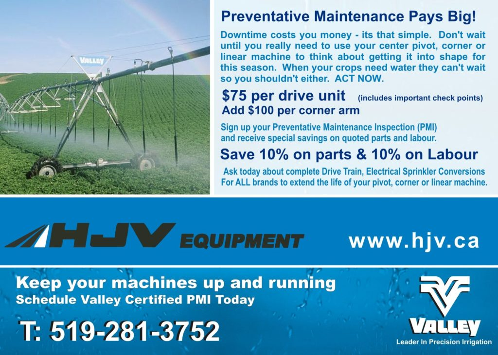 valley irrigation maintenance with hjv